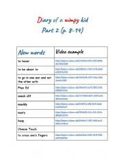 English Worksheet: Diary of a wimpy kid pages  8-14