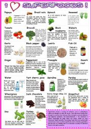 English Worksheet: SUPER FOODS with sentences 1
