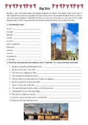 English Worksheet: Big Ben video worksheet