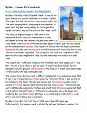 English Worksheet: Big Ben - Famous World Landmarks