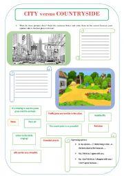 English Worksheet: CITY versus COUNTRYSIDE