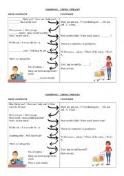 English Worksheet: Shopping conversation phrases
