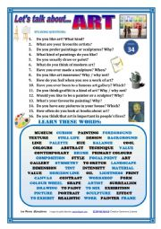 English Worksheet: LET�S TALK ABOUT ART (SPEAKING SERIES 34) NEW VERSION