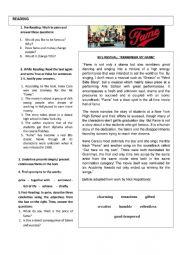 English Worksheet: 80´S REVIVAL: FAME!