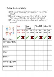 English Worksheet: Talking about talents (I can/I can´t)