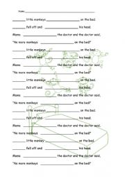English Worksheet: Five Little Monkeys Listening Activity