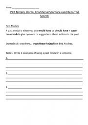 English Worksheet: Past Modals, Unreal Conditional Sentences and Reported Speech