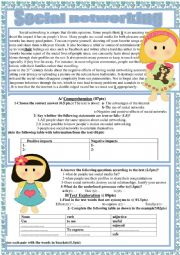 English Worksheet: Negative and positive effects of social networks
