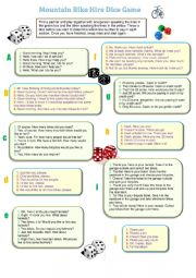 English Worksheet: Dice Game and Bicycle Hire Activity