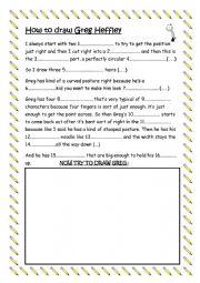 English Worksheet: HOW TO DRAW GREG HEFFLEY