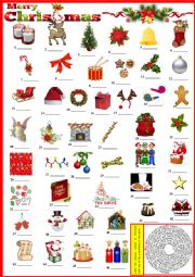 Merry Christmas - Label pictures with provided vocabulary + KEY