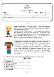 English Worksheet: Household chores 7th form test