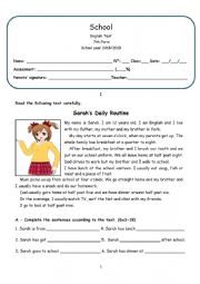 English Worksheet: Daily routine 7th form test