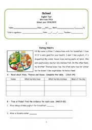 English Worksheet: Test on eating habits (adapted curriculum)