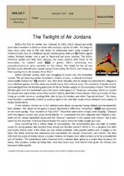 English Worksheet: Test M7 - The Twilight of Air Jordan�s