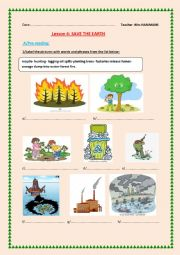 English Worksheet: Lesson 4:Save the EARTH