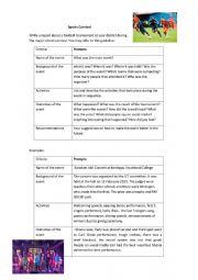 English Worksheet: ESL Writing (Sports Report)