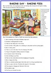 English Worksheet: Picture Description: Baking Day