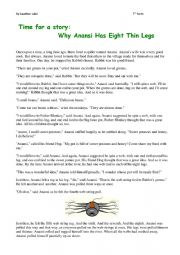 photograph about Printable Anansi Stories named Why Anansi Consists of 8 Skinny Legs - ESL worksheet through nasnous