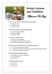 English Worksheet: Afternoon Tea Tradition - Quiz