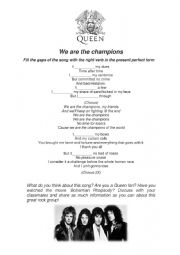 English Worksheet: Queen - We are the Champions
