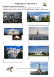 English Worksheet: US monuments
