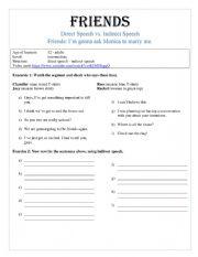English Worksheet: Friends video lesson Direct Speech vs Indirect Speech (Reported Speech)