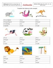 Animal body parts and actions