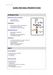 English Worksheet: Guide for oral presentations