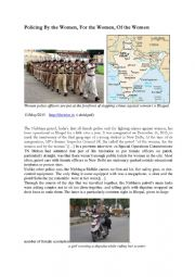English Worksheet: The Nirbhaya patrol , India�s first all- female police unit