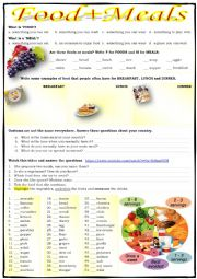 English Worksheet: FOOD + MEALS