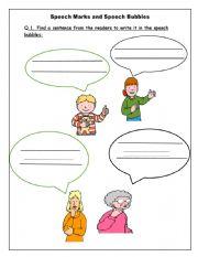 English Worksheet: Speech Marks and Speech bubbles