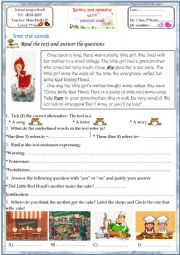 English Worksheet: remedial work 7th form (little red riding hood story)
