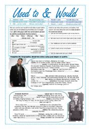 English Worksheet: used to and would