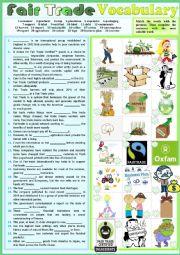 Fair-Trade vocabulary list - Pictionary + Fill in the gap ex + KEY