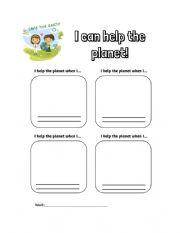 English Worksheet: Help the planet - Worksheet