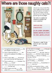 English Worksheet: Prepositions with Cats