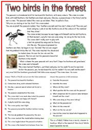 English Worksheet: Two birds in the forest, a fable.