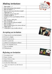 English Worksheet: making invitations (phrases)