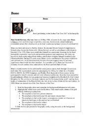 Biography Bono worksheet