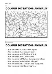 English Worksheet: COLOUR + ANIMAL DICTATION