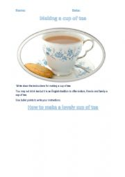 English Worksheet: Writing instructions: How to make a cup of tea