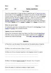 English Worksheet: Tea in Japan -a reading comprehension /assessment