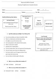 Reading comprehension evaluation exercise on school notices