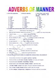 English Worksheet: adverbs of manner