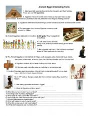 English Worksheet: Ancient Egypt Interesting Facts