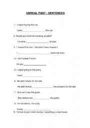 English Worksheet: Unreal past - sentences