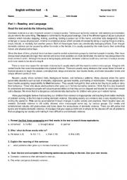 English Worksheet: 12th grade Test on domestic violence