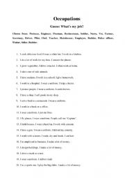 English Worksheet: Occupations, Guessing game
