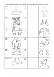 English Worksheet: winter clothes and body parts,